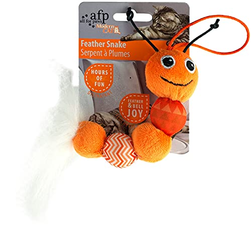 Modern Cat - Feather Snake - Katzenspielzeug - orange von All for Paws