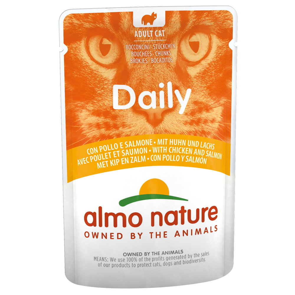 Sparpaket Almo Nature Daily Menu Pouch 12 x 70 g - Huhn & Lachs von Almo Nature Daily Menu