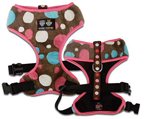 BESSIE AND BARNIE Mesh Luxury Cake Pop/Blushing Dots/Hot pink, Pet Dog Durable Adjustable Harness von BESSIE AND BARNIE