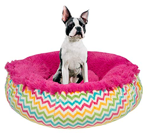 BESSIE AND BARNIE Ocean Wave/Lollipop Luxury Shag Ultra Plush Faux Fur Bagelette Pet/Dog Bed (Multiple Sizes) von BESSIE AND BARNIE