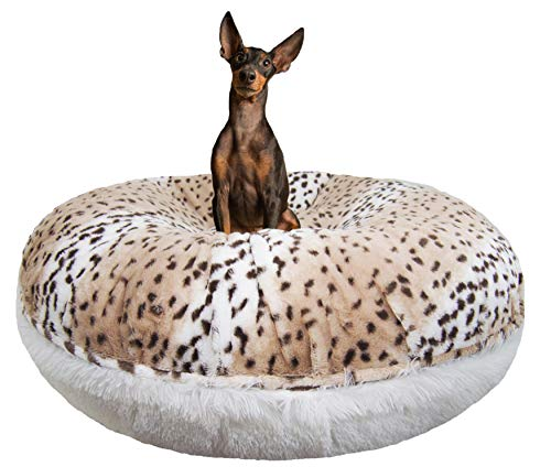 "BESSIE AND BARNIE Signature Aspen Snow Leopard/Snow White Luxury Shag Extra Plush Faux Fur Bagel Pet/Dog Bed (Multiple Sizes), XS - 24"" von BESSIE AND BARNIE"