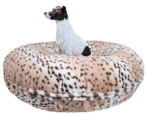 BESSIE AND BARNIE Signature Aspen Snow Leopard Luxury Extra Plush Faux Fur Bagel Pet/Dog Bed (Multiple Sizes) von BESSIE AND BARNIE