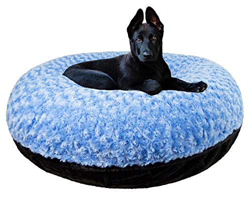 "BESSIE AND BARNIE Signature Black Puma/Blue Sky Extra Plush Faux Fur Bagel Pet/Dog Bed (Multiple Sizes), S- 30"" von BESSIE AND BARNIE"