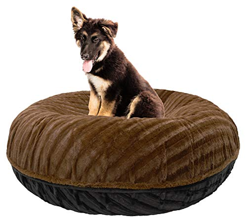 "BESSIE AND BARNIE Signature Black Puma/Godiva Brown Extra Plush Faux Fur Bagel Pet/Dog Bed (Multiple Sizes), XS - 24"" von BESSIE AND BARNIE"