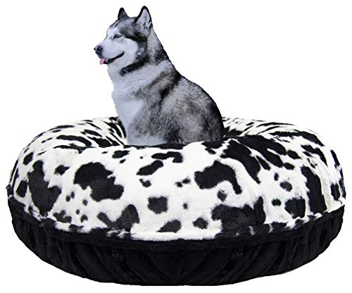 "BESSIE AND BARNIE Signature Black Puma/Spotted Pony Extra Plush Faux Fur Bagel Pet/Dog Bed (Multiple Sizes), M- 36"" von BESSIE AND BARNIE"
