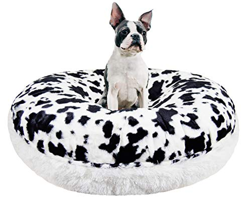 "BESSIE AND BARNIE Signature Spotted Pony/Snow White Luxury Shag Extra Plush Faux Fur Bagel Pet/Dog Bed (Multiple Sizes), M- 36"" von BESSIE AND BARNIE"