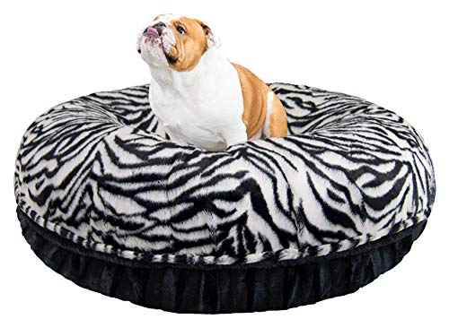 "Bessie and Barnie Signature Zebra / Black Puma Extra Plush Faux Fur Bagel Pet / Dog Bed (Multiple Sizes), XS - 24"" von BESSIE AND BARNIE"