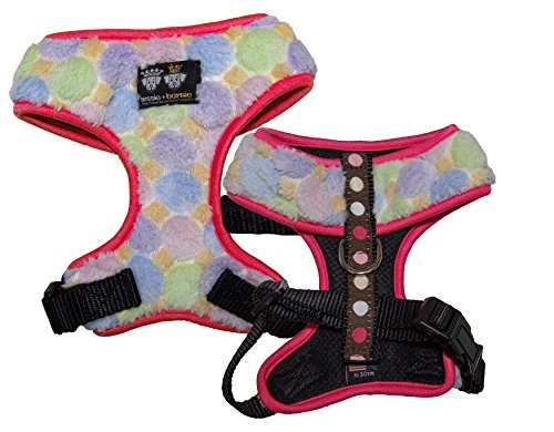 BESSIE AND BARNIE Mesh Luxury Ice Cream/Blushing Dots/Hot Pink Pet Dog Durable Adjustable Harness (Multiple Sizes) von BESSIE AND BARNIE
