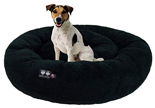 Ultra Plush Deluxe Comfort Pet Dog & Cat Black Snuggle Bed (Multiple Sizes) - Machine Washable, Made in The USA, Reversible, Durable Soft Fabrics von BESSIE AND BARNIE