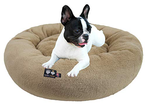 Ultra Plush Deluxe Comfort Pet Dog & Cat Taupe Snuggle Bed (Multiple Sizes) - Machine Washable, Made in The USA, Reversible, Durable Soft Fabrics von BESSIE AND BARNIE