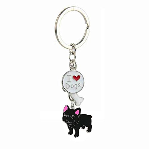 bbeart® Dog Keyring Keychain, Schlüsselanhänger aus kleinem Hundemetall mit Schlüsselbund Keyring Key Tags Car Keyring Pocket Charm French Bulldog von BbearT