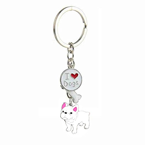 bbeart® Dog Keyring Keychain, Schlüsselanhänger aus kleinem Hundemetall mit Schlüsselbund Keyring Key Tags Car Keyring Pocket Charm White French Bulldog -A von BbearT