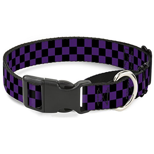 Buckle-Down Checker schwarz/lila Martingale Hundehalsband, 3,8 cm Wide-fits 45,7–81,3 cm Neck-Large von Buckle-Down