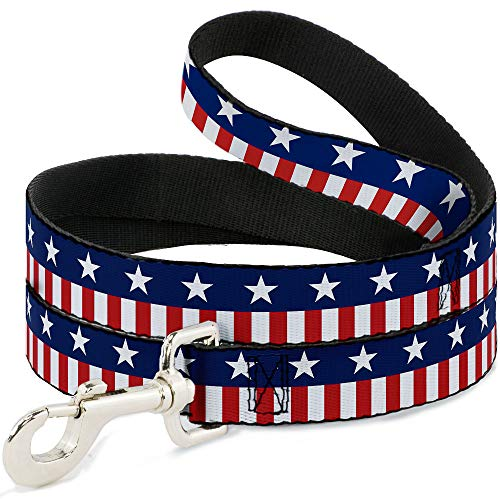 Buckle-Down Dog Leash Americana Stars Stripes2 Blue White Red White 6 Feet Long 0.5 Inch Wide von Buckle-Down