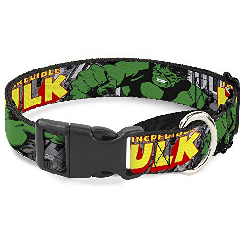 Hundehalsband Martingale The Incredible Hulk Action Posen Stacked Comics 38,1 bis 66 cm 2,5 cm breit von Buckle-Down