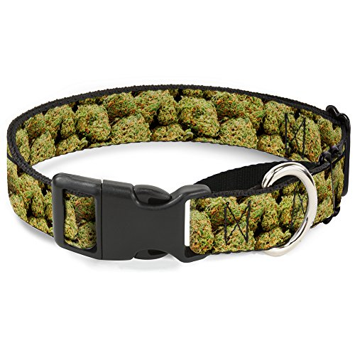 Buckle-Down Marihuana nugs2, stapelbar, Martingale Hundehalsband, 3,8 cm, Wide-fits, 32 Neck-Large von Buckle-Down