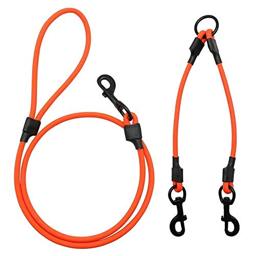CHENGTAO Doppelte Hundeleine Linker Haustierprodukt PVC-Hunde Dual Lead Twin Way Walk Strap Leads Set for Zwei Große Kleine Hunde Welpen Trainingsleine (Color : Orange SxS Set, Size : L) von CHENGTAO