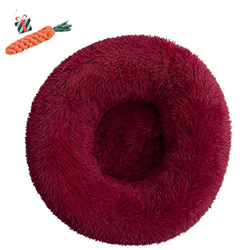 Chickwin Pet Bed for Dog/Cat, Warm Fluffy Extra Soft Anti-Slip Bottom Bed Puppy Sofa Round Warm Cuddler Sleeping Bag Nesting Cave Kennel Soft (60CM,Rotwein) von Chickwin