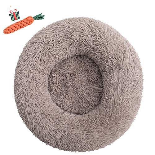 Chickwin Pet Bed for Dog/Cat, Warm Fluffy Extra Soft Anti-Slip Bottom Bed Puppy Sofa Round Warm Cuddler Sleeping Bag Nesting Cave Kennel Soft (90CM,Beigebraun) von Chickwin