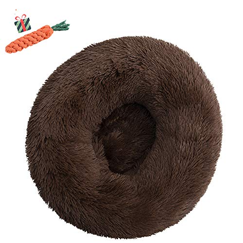 Chickwin Pet Bed for Dog/Cat, Warm Fluffy Extra Soft Anti-Slip Bottom Bed Puppy Sofa Round Warm Cuddler Sleeping Bag Nesting Cave Kennel Soft (90CM,Braun) von Chickwin