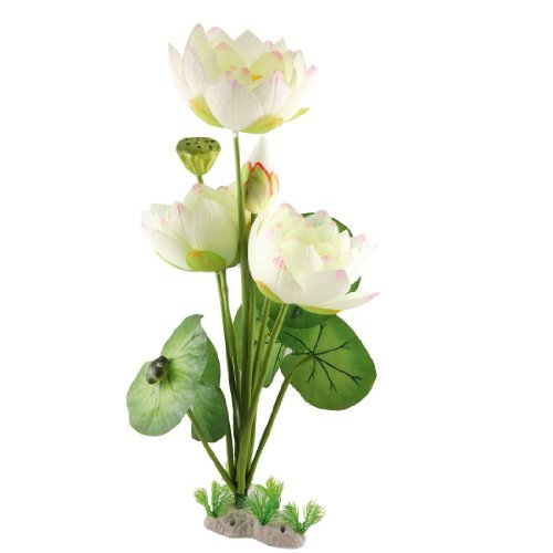 DealMux Fish Tank Beige Stoff Lotus Green Leaf Decotative Plant von DealMux