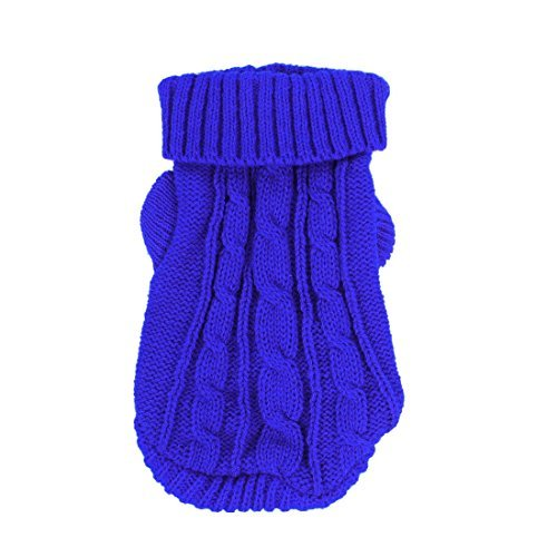 DealMux Twisted Knit Ribbed Cuff Rollkragen Bekleidung Pet Sweater, XX-Small, Royal Blue von DealMux