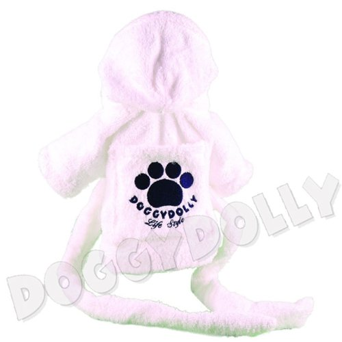 Doggydolly Hunde-Bademantel weiß Mops, Bulldogge Frottee von Doggydolly