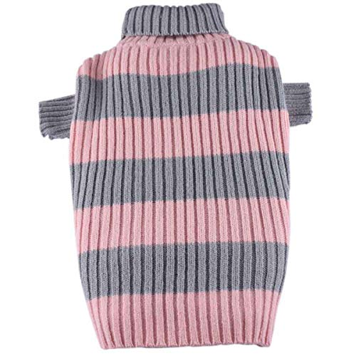 Doggydolly Hunde-Rollkragenpulli Stripes rosa-grau von Doggydolly