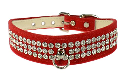 "Evans Collars 1 1/8"" Shaped Collar with 3 Row Jewels, Size 18, Velvet, Red von Evans Collars"