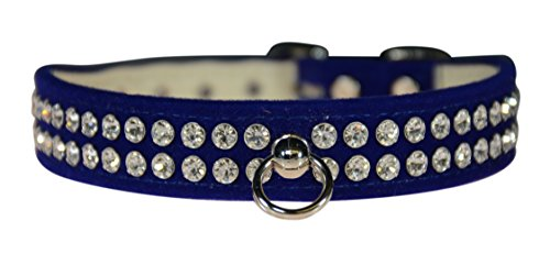 "Evans Collars 3/4"" Shaped Collar with Crystal Jewels, Size 18, Velvet, Blue von Evans Collars"