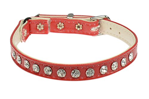 Evans Collars Jeweled Cat Safety Collar with Elastic, Size 12, Vinyl, Red von Evans Collars