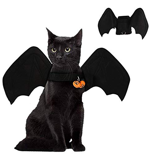 Fansu Halloween Kostüm Hund Haustier Hund Katze Halloween Kostüme, Einstellbare Warme Kleidung Netter Hunde Party Cosplay Dekoration (S,Glocke & Fledermaus) von Fansu