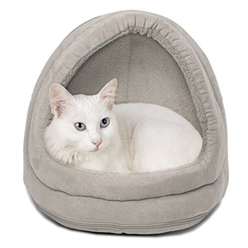 Furhaven Pet Cat Bed | Hooded Tent House Cave Terry & Suede Dome Lounger Hood Pet Bed for Cats & Small Dogs, Clay, One-Size von Furhaven