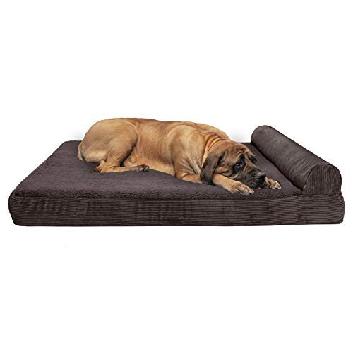 Furhaven Pet Dog Bed | Deluxe Orthopedic Faux Fleece & Corduroy Chaise Lounge Living Room Couch Pet Bed w/Removable Cover for Dogs & Cats, Espresso, Jumbo Plus von Furhaven