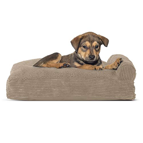 Furhaven Pet Dog Bed - Faux Fleece & Corduroy Deluxe Chaise Lounge Pillow Cushion Sofa-Style Living Room Couch Pet Bed w/Removable Cover for Dogs & Cats, Sandstone, Small von Furhaven