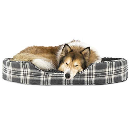 Furhaven Pet Dog Bed | Round Oval Cuddler Terry Fleece & Plaid Nest Lounger Pet Bed for Dogs & Cats, Smoke Gray, Jumbo von Furhaven