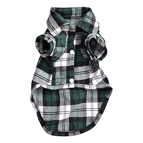 Cute Pet Dog Puppy Plaid Shirt Coat Clothes Apparel T-Shirt Top Größe XS S M L von Greenlans