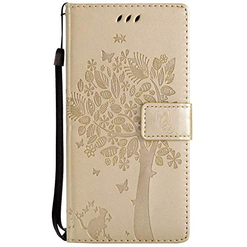 Hancda Hülle für Huawei P Smart Plus/P Smart+ (Nicht für P Smart), Schutzhülle Leder Tasche Flip Case Handy Hüllen Lederhülle Magnet Cover für Huawei P Smart Plus/P Smart+,Hülle Gold von Hancda