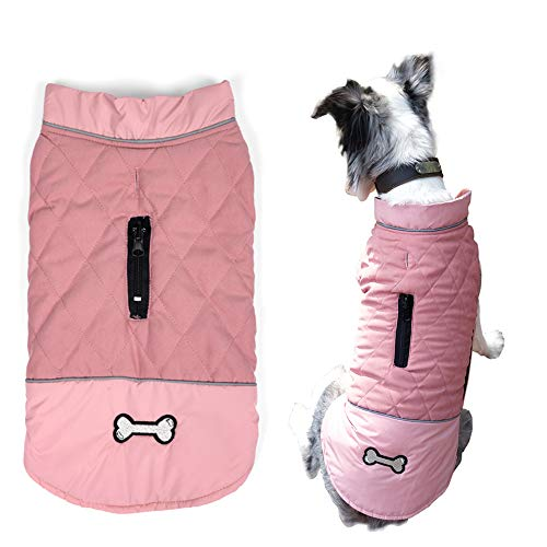 Komate Reversible Winter Dog Coat for 2 Styles Warm Dog Jacket Windproof Outdoor pet Vest with Reflective Strips for The Safety of Dogs for small and medium-Sized Dogs (3XL (Brust 80-91 cm), Rosa) von Komate