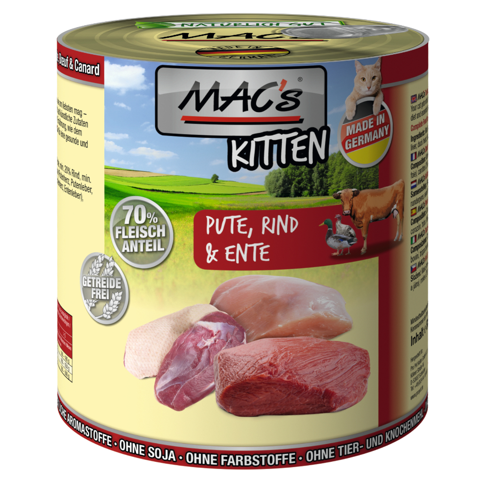 MAC´s Cat 6 x 800 g - Kitten (Pute, Rind, Ente) von MAC's