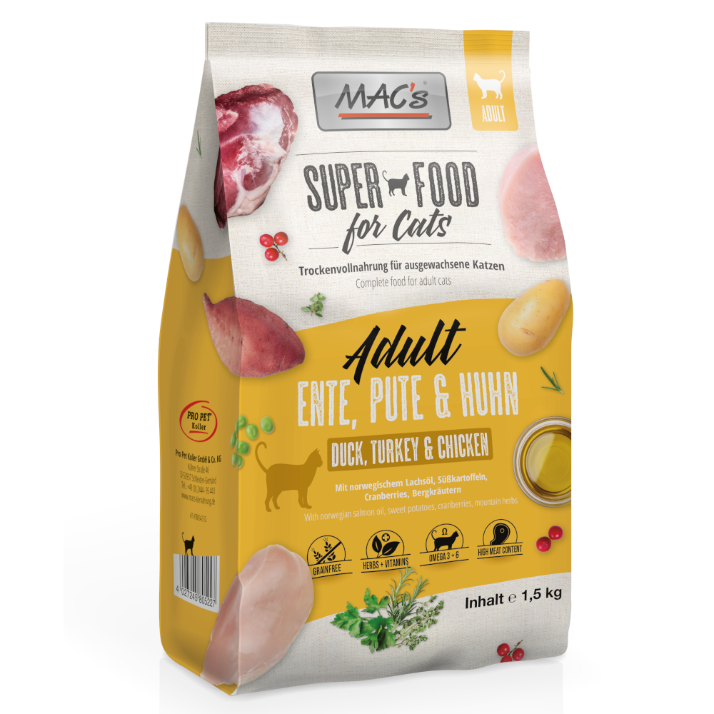 Probierpaket MAC's Cat Adult - 3 x 1,5 kg von MAC's