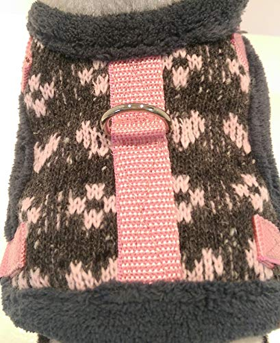 Masi Dogsdesign XS S M Softgeschirr Brustgeschirr Wintergeschirr Herz Strickstoff Winter warm gefüttert Plüsch Hunde Chihuahua Hundegeschirr verstellbar Welpen Prager Rattler Malteser Pomeranian (XS) von Masi Dogsdesign