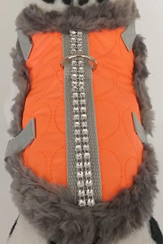 Masi Dogsdesign XS S M Softgeschirr Brustgeschirr Wintergeschirr Orange Neon Glitzer Plüsch Stepp Winter warm gefüttert Hunde Chihuahua Hundegeschirr von Masi Dogsdesign