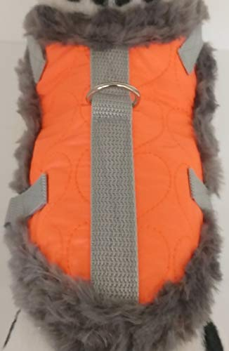 Masi Dogsdesign XS S M Softgeschirr Brustgeschirr Wintergeschirr Orange Neon grau Plüsch Stepp Winter warm gefüttert Hunde Chihuahua Hundegeschirr verstellbar Welpen (M) von Masi Dogsdesign