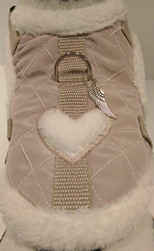 Masi Dogsdesign XS S M Softgeschirr Brustgeschirr Wintergeschirr Stepp beige Herz Winter warm gefüttert Hunde Chihuahua Hundegeschirr verstellbar Welpen Prager Rattler Malteser Pomeranian (M) von Masi Dogsdesign