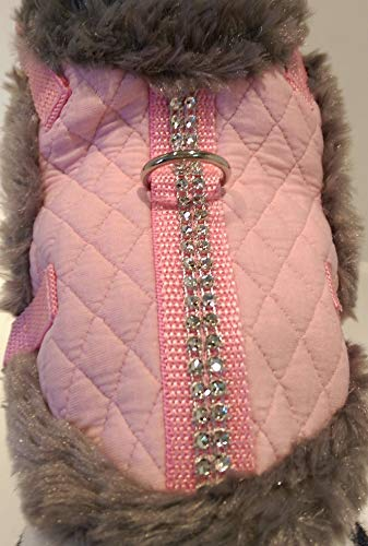 Masi Dogsdesign XS S M Softgeschirr Brustgeschirr Wintergeschirr Stepp rosa Glitzer Winter warm gefüttert Hunde Chihuahua Hundegeschirr verstellbar Welpen Prager Rattler Malteser Pomeranian (S) von Masi Dogsdesign