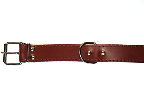 12mm braun Halsband aus echtem Leder gepolstert 40cm