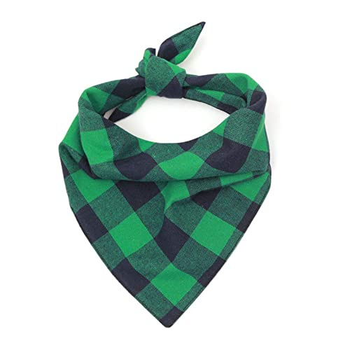 NACOCO Dog Bandana Bibs Pet Plaid Scarf Triangle Head Scarfs Accessories Neckerchief for Small and Medium Dog (1 Pack Green, M) von NACOCO