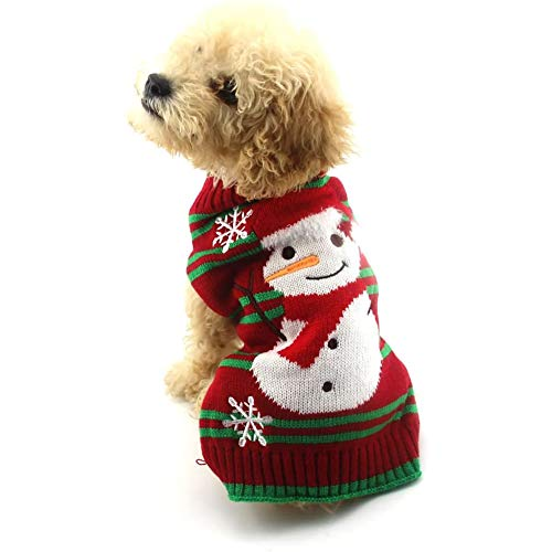 NACOCO Dog Snow Sweaters Thick Snowman Sweaters Xmas Dog Holiday Sweaters New Year Christmas Sweater Pet Clothes for Small Dog and Cat(Thick Snowman,M) von NACOCO