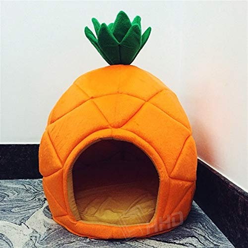 NGHSDO Hundebett Kreative Kennel Cat-Nest-Hunde Obst Banane Erdbeere Ananas Wassermelone Cotton Bed Warm Pet Products faltbares Hundehaus (Color : Pineapple, Size : S) von NGHSDO